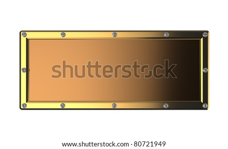 3d illustration of empty copper plate isolated over white