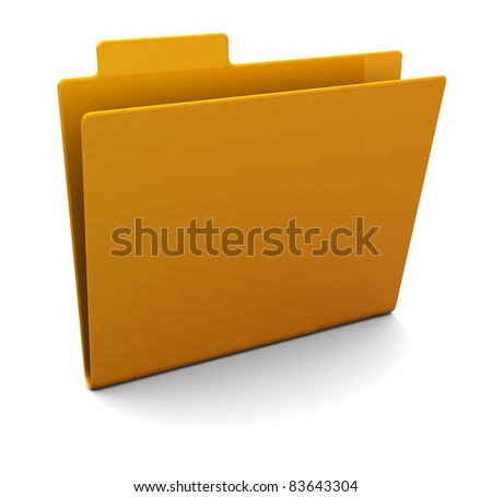 3d illustration of empty folder over white background