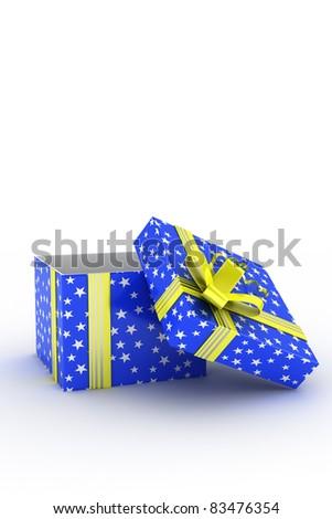 3D illustration of empty gift box - stock photo