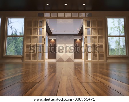 3d illustration of empty interior with open doors. low angle view - stock photo