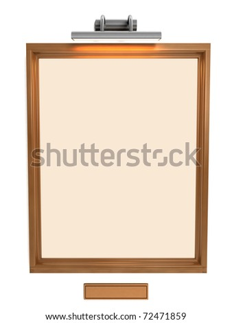 3d illustration of empty photo frame on white wall with light