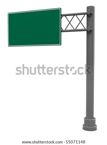 3d illustration of empty road sign isolated over white background