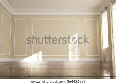 3d illustration of empty room with window and parquet  - stock photo