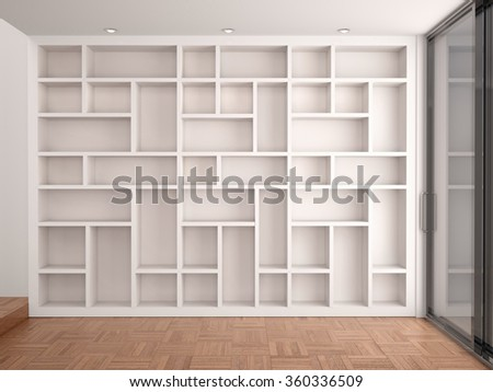3d illustration of Empty shelves in modern white interior - stock photo