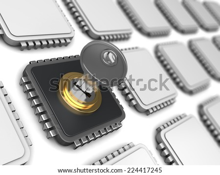 3d illustration of encoded chip and many others - stock photo