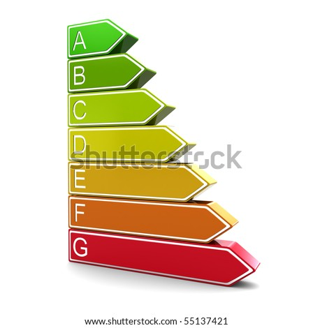 3d illustration of energy classification symbol, over white background