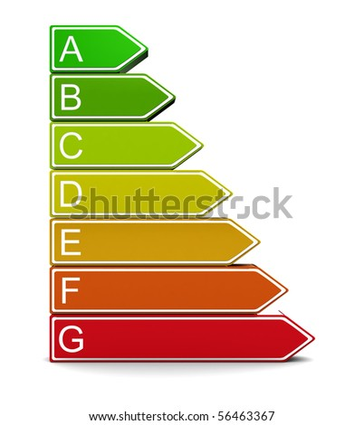 3d illustration of energy classification symbol over white background