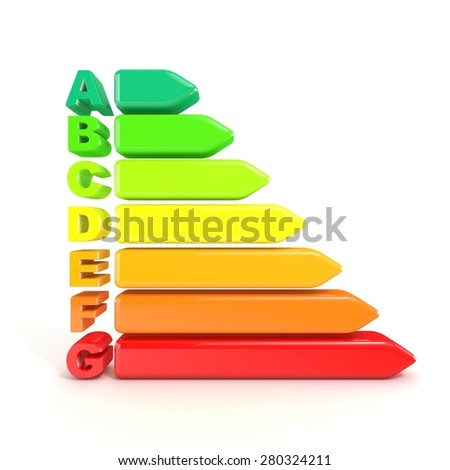 3D illustration of energy efficiency chart isolated on white background