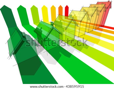 3d illustration of energy rating diagram with growing seven detached houses certified in seven energetic classes - stock photo