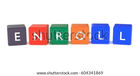 3d illustration of enroll word from colored cubes