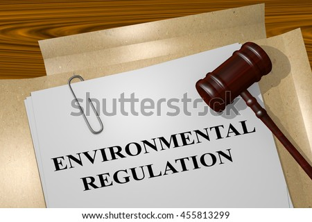 "3D illustration of ""ENVIRONMENTAL REGULATION"" title on legal document - stock photo"