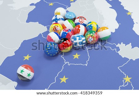 3D illustration of EU and Syrian Arab Republic flags on the pool table 2 - stock photo