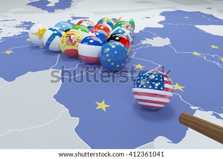 3D illustration of eu and usa flags on the pool table 1 - stock photo