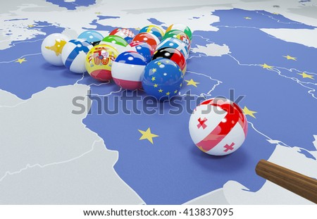 3d illustration of EU enlargement - Georgia - stock photo