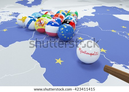 3d illustration of eu flags on eu map 2 - stock photo