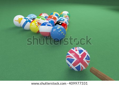 3D illustration of eu flags on the pool table - stock photo