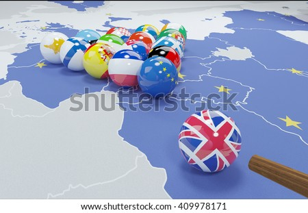 3D illustration of eu flags on the pool table 8 - stock photo