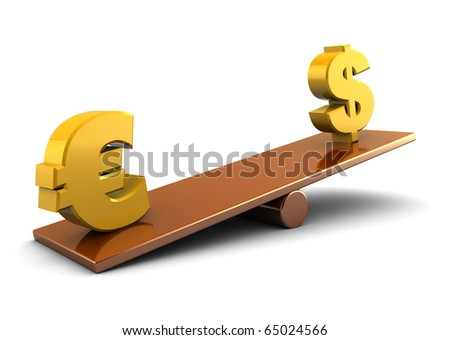 3d illustration of euro and dollar on scale board, over white background - stock photo