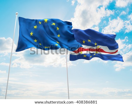 3D illustration of Europe Union & Cape Verde Flags are waving in the sky