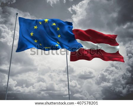 3D illustration of Europe Union & Latvia Flags are waving in the sky with dark clouds