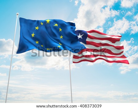 3D illustration of Europe Union & Liberia Flags are waving in the sky