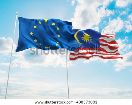 3D illustration of Europe Union & Malaysia Flags are waving in the sky
