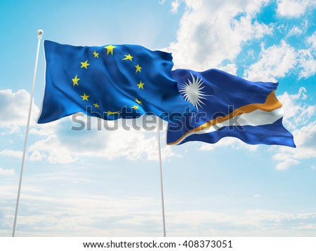 3D illustration of Europe Union & Marshall Islands Flags are waving in the sky