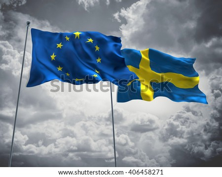 3D illustration of Europe Union & Sweden Flags are waving in the sky with dark clouds