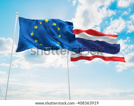 3D illustration of Europe Union & Thailand Flags are waving in the sky