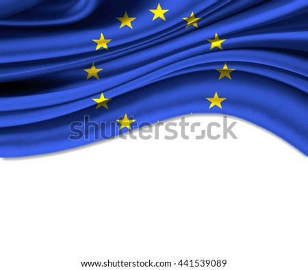 3D illustration of European Union fabric waving of flag.