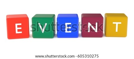 3d illustration of EVENT word or icon from colored cubes
