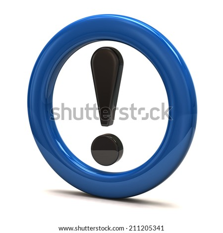 3d illustration of exclamation sign in blue ring - stock photo