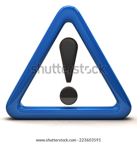3d illustration of exclamation sign in blue triangle - stock photo