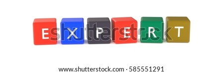 3d illustration of expert word from colored cubes