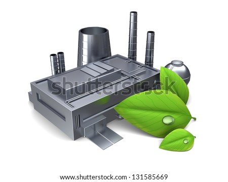 3d illustration of factory building with green leaf, over white background - stock photo