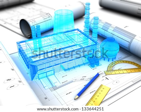 3d illustration of factory design concept - stock photo