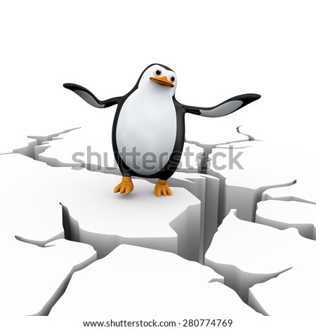 3d illustration of falling dis-balanced penguin  on cracked ground earth - stock photo