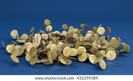 3D illustration of Falling Russian Ruble Coins on blue background