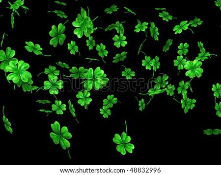 3D illustration of falling shamrock leaves Saint Patrick's day symbol isolated on black background - stock photo