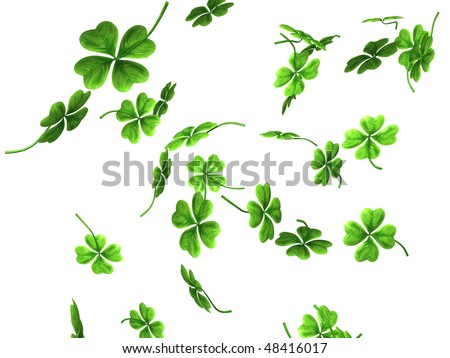3D illustration of falling shamrock leaves Saint Patrick's day symbol isolated on white background - stock photo