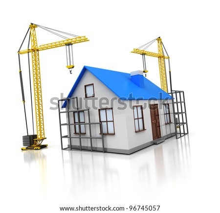 3d illustration of family house construction