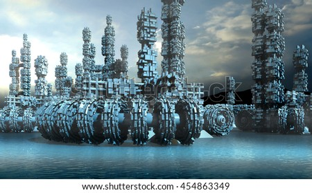 3D Illustration of fantasy transports and architecture on a frozen blue planet with block structures on wheels, for planetary exploration or science fiction backgrounds - stock photo