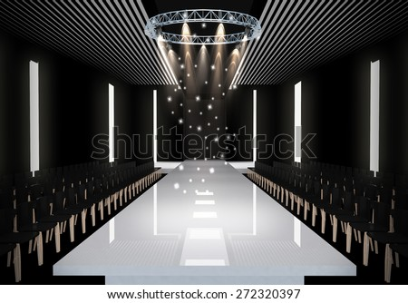 3d illustration fashion empty runway spot stock