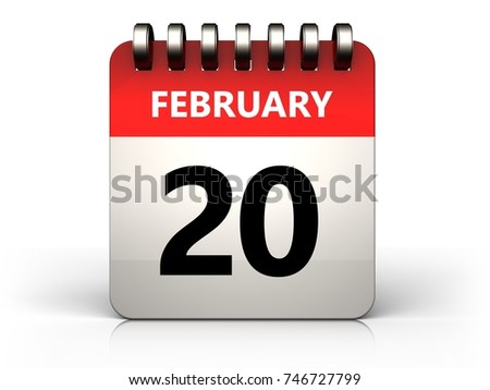 3d illustration of 20 february calendar over white background