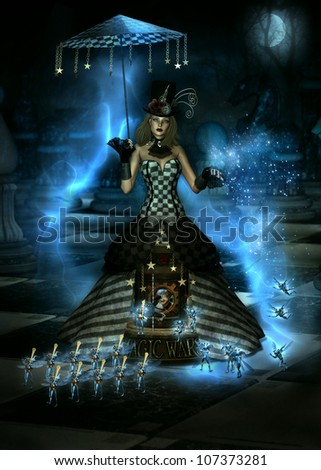 3D illustration of  female character dressed in a long Steampunk Victorian gown.  At the base of the skirt is a miniature Carousel with the words Magic Wars. Surrounded by tiny winged creatures. - stock photo