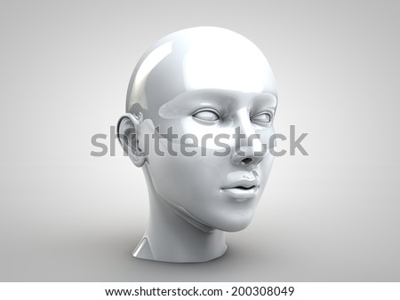 3D illustration of female human face - stock photo