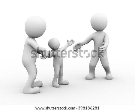 3d illustration of fighting couple for child custody. Family people conflict and dispute