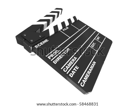 3d illustration of film clap isolated over white background