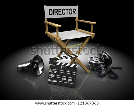 3d illustration of filmmaker equipment over black background - stock photo