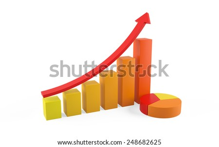3d illustration of financial chart isolated on white background - stock photo